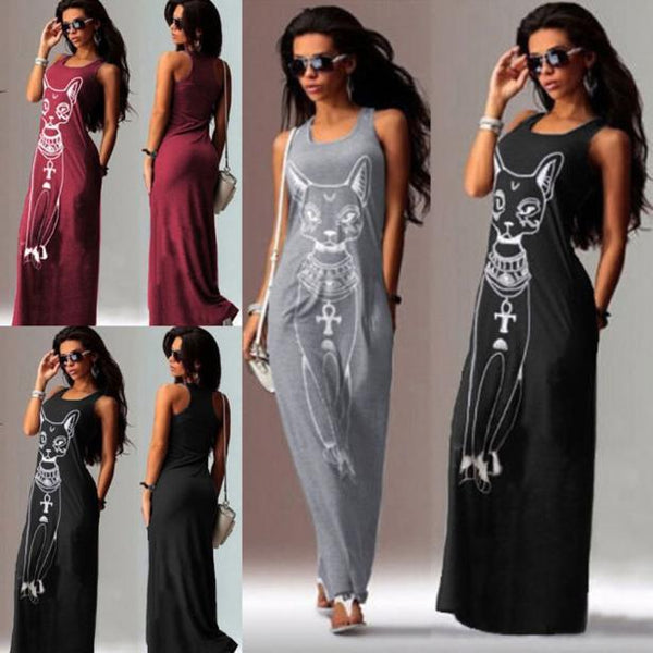 Women Casual Sleeveless Boho Long Cocktail Party Beach Dress