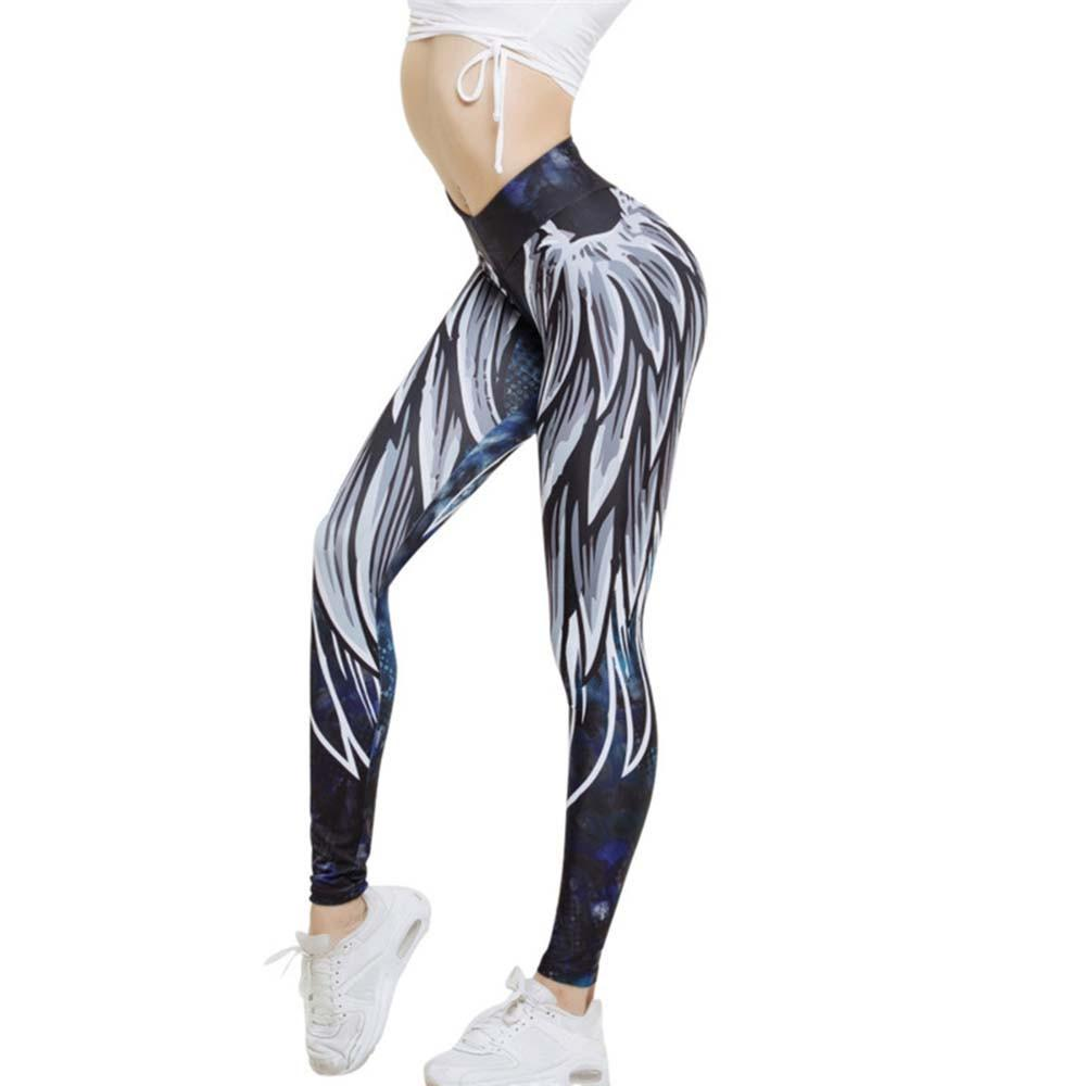 Womens Wing Printed Yoga Skinny Workout Leggings Fitness Sports Cropped Pants