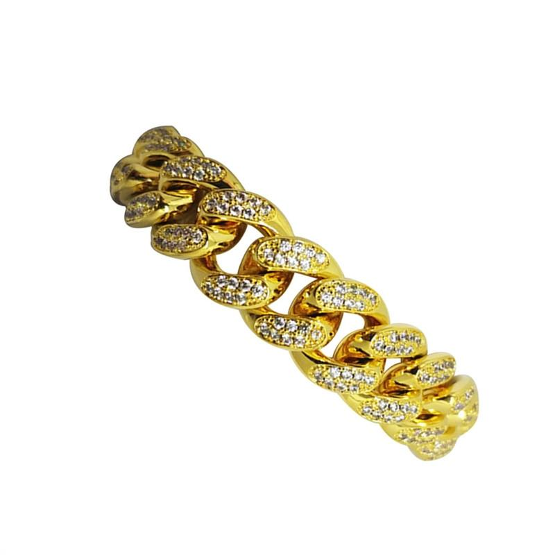 Chic Mens Bracelet Hip Hop Jewelry Crystal Rhinestones Diamonds Cuban Gold Plated Link Chain Necklace 20 cm