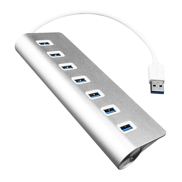 USB Hub with 7 Port USB3.0 High Speed Hub Plug and Play for Mac PC USB Flash Drives Silver