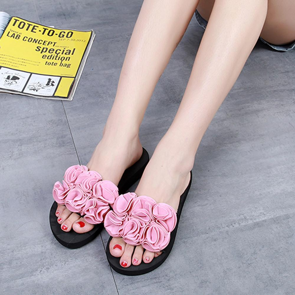 Women Flower Summer Sandals Slipper Indoor Outdoor Flip-flops Beach Shoes