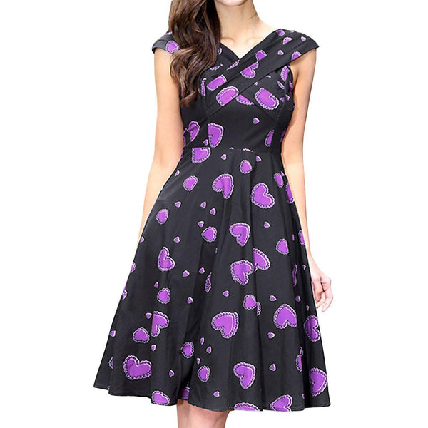 Women Print Sleeveless Big Dress Print Party Evening Prom Swing Dress