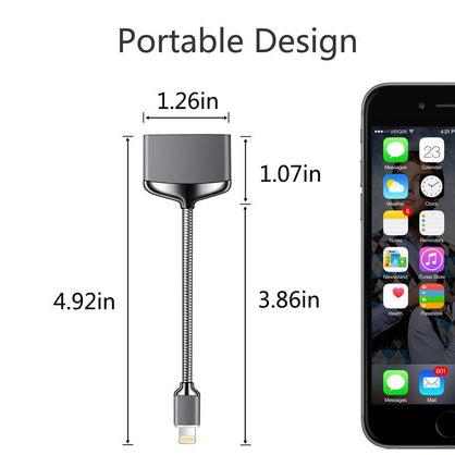 iPhone 7 Metal Splitter, Audio adapter lightning cable for Apple iphone