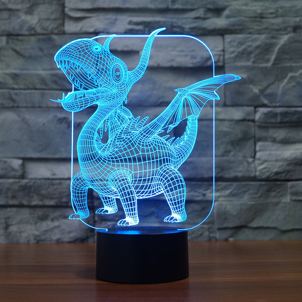 3D Illusion Night Light  LED Light 7 Color with Touch Switch USB Cable Nice Gift Home Office Decorations,Dinosaur-8