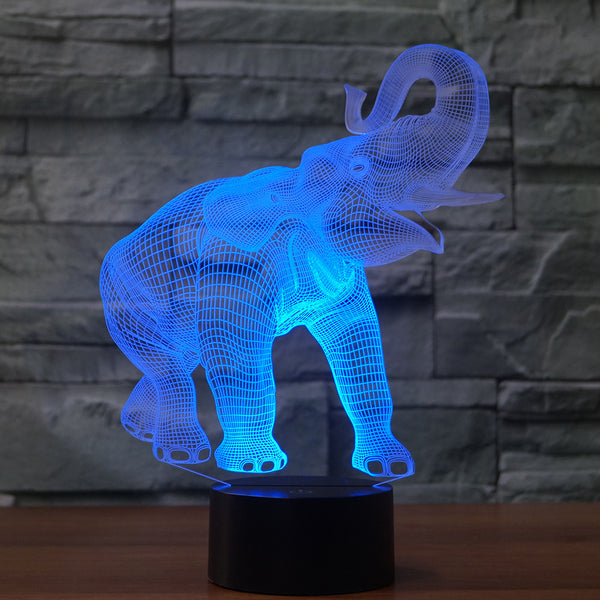 3D Illusion Night Light  LED Light 7 Color with Touch Switch USB Cable Nice Gift Home Office Decorations,Elephant-3