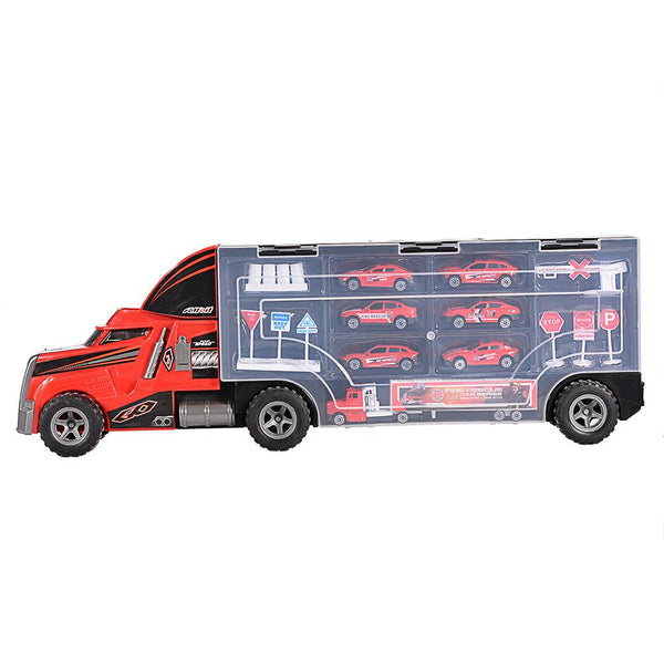 Container Truck with Fire Rescue Metal Cars Playset Vehicle Playset