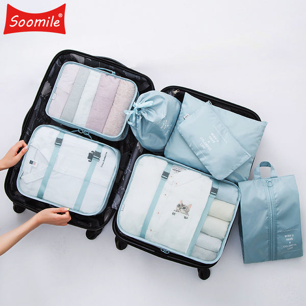 New High quality 7PCS/set Travel Bag Set Women Men Luggage Organizer for Clothes Shoe Waterproof Packing Cube Portable Clothing