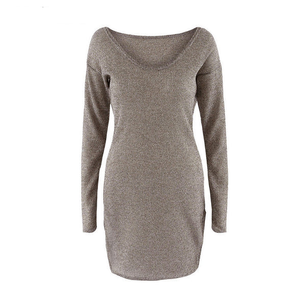 2018 Winter Women Sweater Dress Elegant Chic Long Sleeve Knit Deep V-neck Sexy Party Bodycon Sweater Dresses