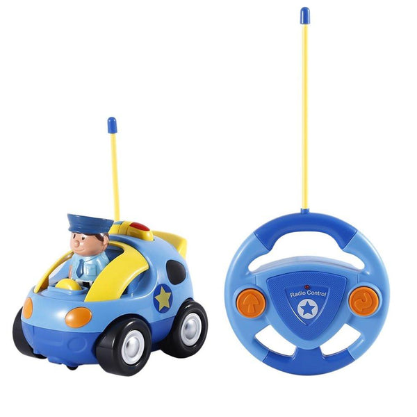 Funny Plastic Kids Baby Toddlers Cartoon Police RC Race Car Remote Control Car Toys Kids Gifts Toys For Children