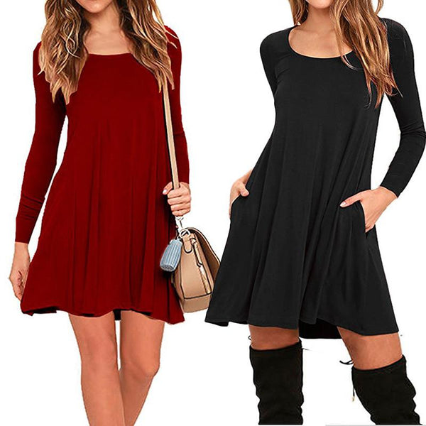 Long Sleeve Women Dress Soild Color Plus Size Pullover Dresses Elegant Girls Casual Dresses