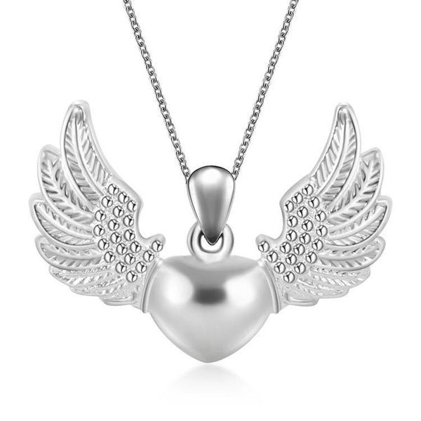 S925 Sterling Silver Fashion Women Cute Angle Wings Heart Pendant Pendant DIY Necklace Chain Jewelry Gifts
