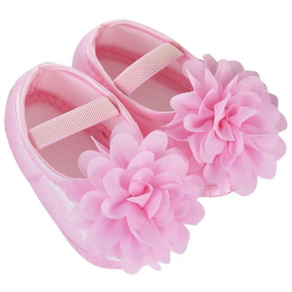 Kid Baby Girl Chiffon Flower Elastic Band Newborn Walking Shoes