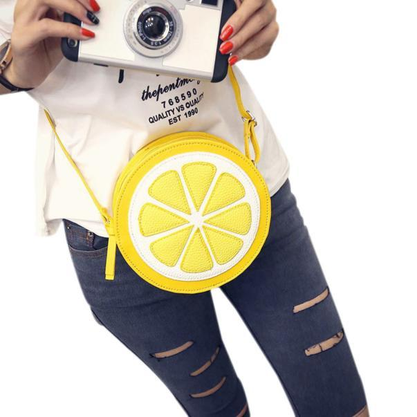 Female Fashion Personality Round Lemon Shoulder Bag