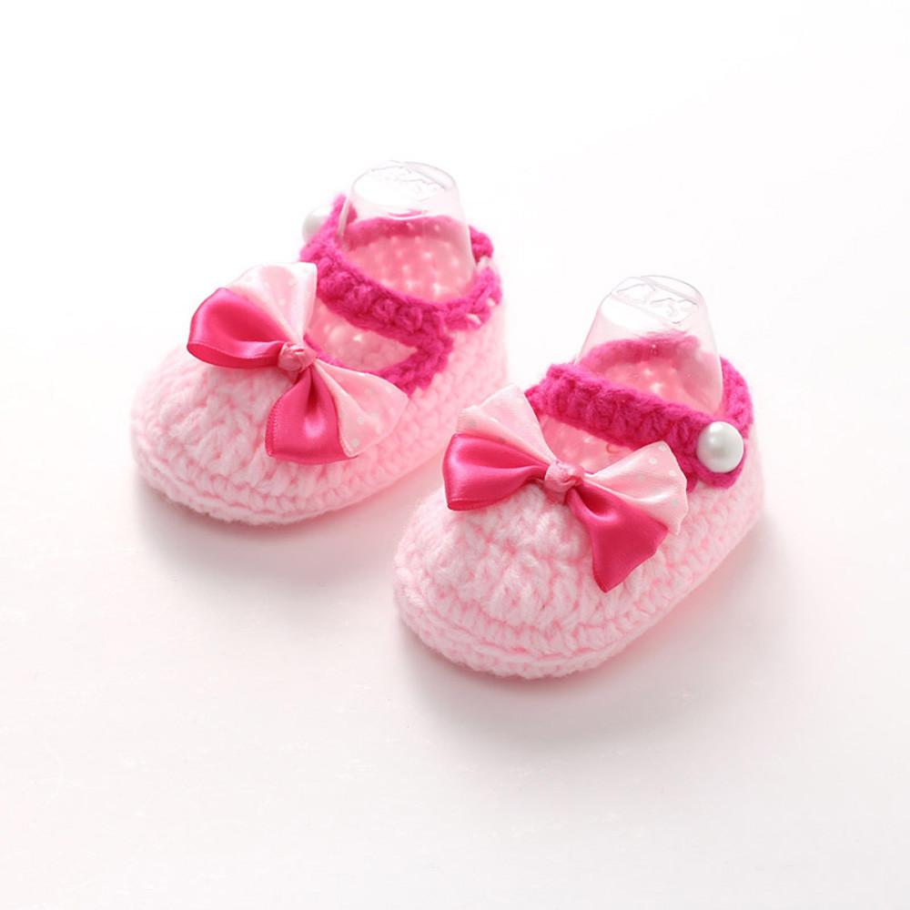 Baby Girls Crochet Handmade Knit Shoes