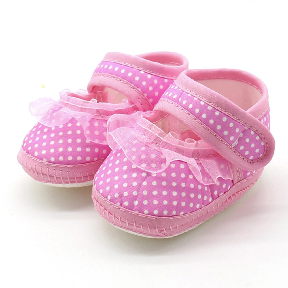 Newborn Infant Baby Dot Lace Girls Soft Sole Prewalker Warm Casual Flats Shoes