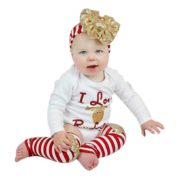 1Set Christmas Newborn Baby Boy Girl Clothes Romper Leg Warmer 3Pcs Outfits