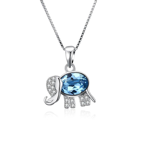 S925 Silver Necklace Blue Diamond Baby Elephant Necklace