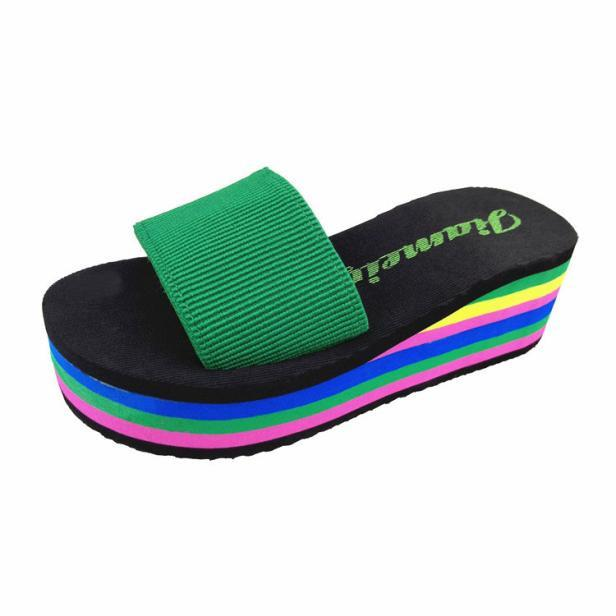 Women Rainbow Summer Non-Slip Sandals Female Beach Slippers