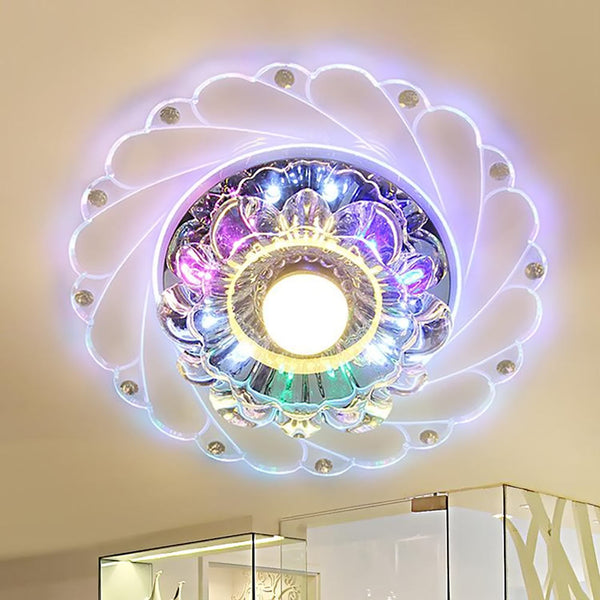 Modern LED Crystal Ceiling Light Circular Mini Ceiling Lamp Luminarias Rotunda Light For Living Room Aisle Corridor Kitchen
