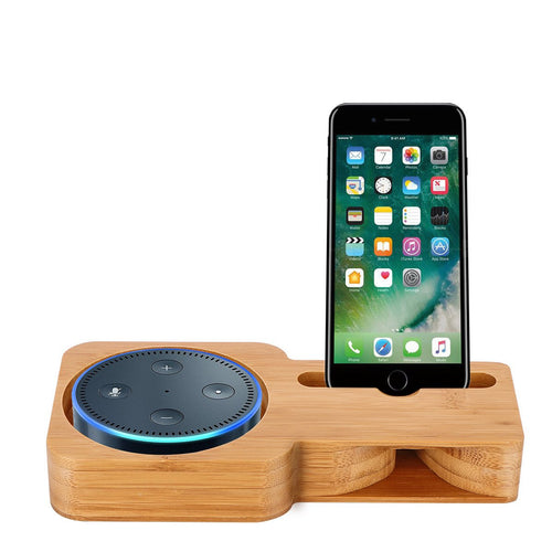 Powstro Bamboo Wood Desk Holder For Smart Mobile Phone Charging Dock Speaker Stand For Echo Dot Phone Stand Holder For iPhone