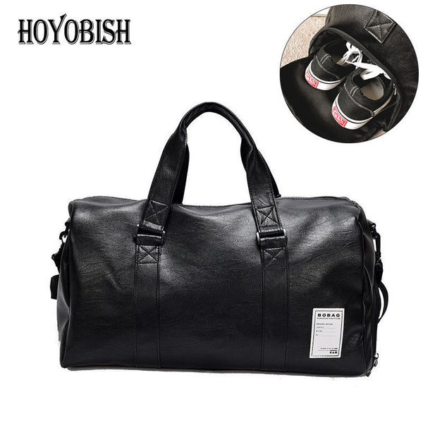 HOYOBISH Korean Style Men Travel Duffle Bags Waterproof Leather Handbags Shoulder Bag For Women Large Capacity Weekend Bag OH301