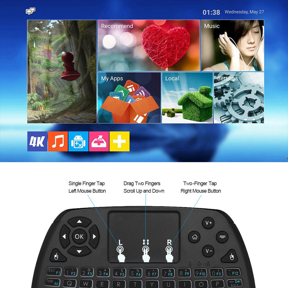 English and Russian Version 4 Colors Backlit 2.4GHz Wireless QWERT Keyboard