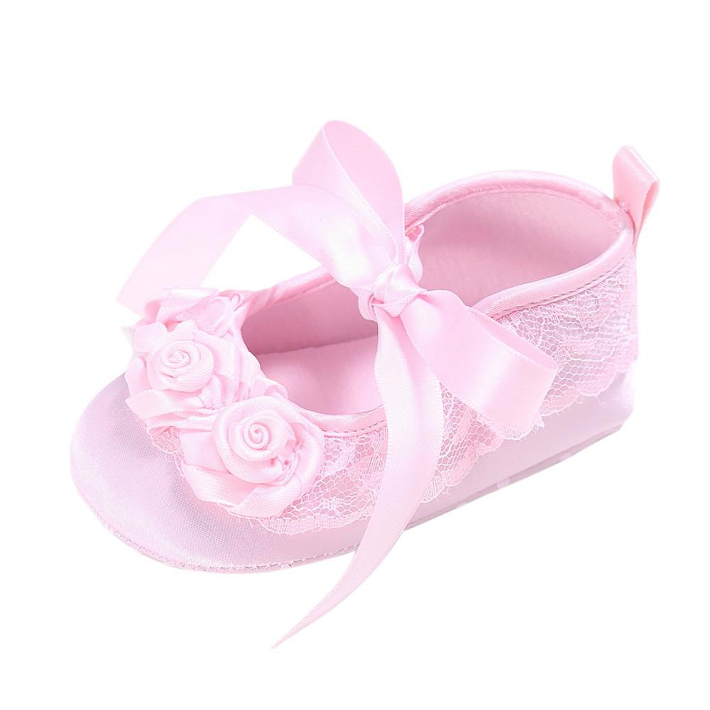 Toddler Girl Crib Shoes Newborn Flower Soft Sole Anti-slip Baby Sneakers