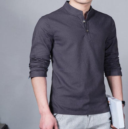 Men 's Long Sleeved Shirt Men' s Cotton and Linen Shirt