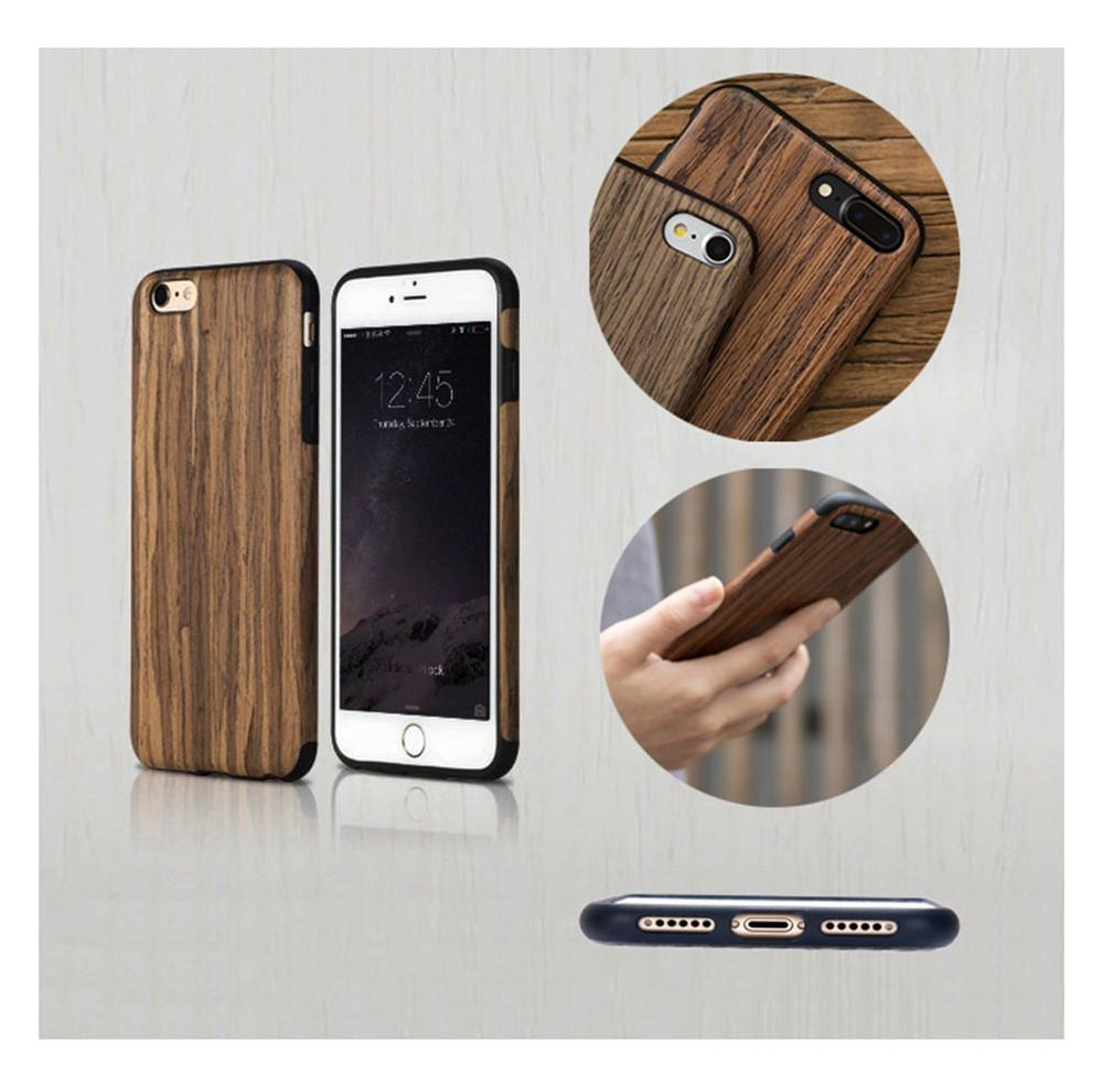 iPhone Cover Wooden Case Shock-Absorption Thin PU Phone Cover with Screen Protector