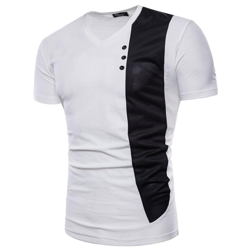 Mens Casual Short Sleeve Shirt Muscle Slim Fit Shirt Pathwork Blouse Button Top