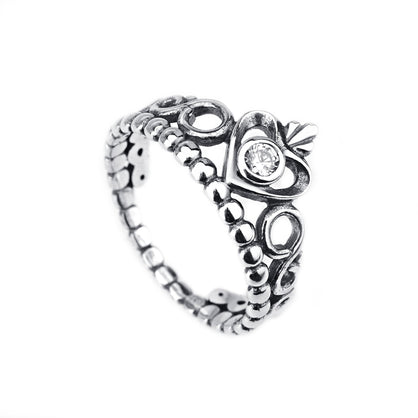 European and American jewelry female Amazon hot sale jewelry 925 sterling silver crown heart-shaped ring