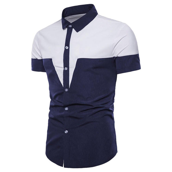 Mens Casual Short Sleeve Shirt Business Slim Fit Shirt Patchwork Blouse Top