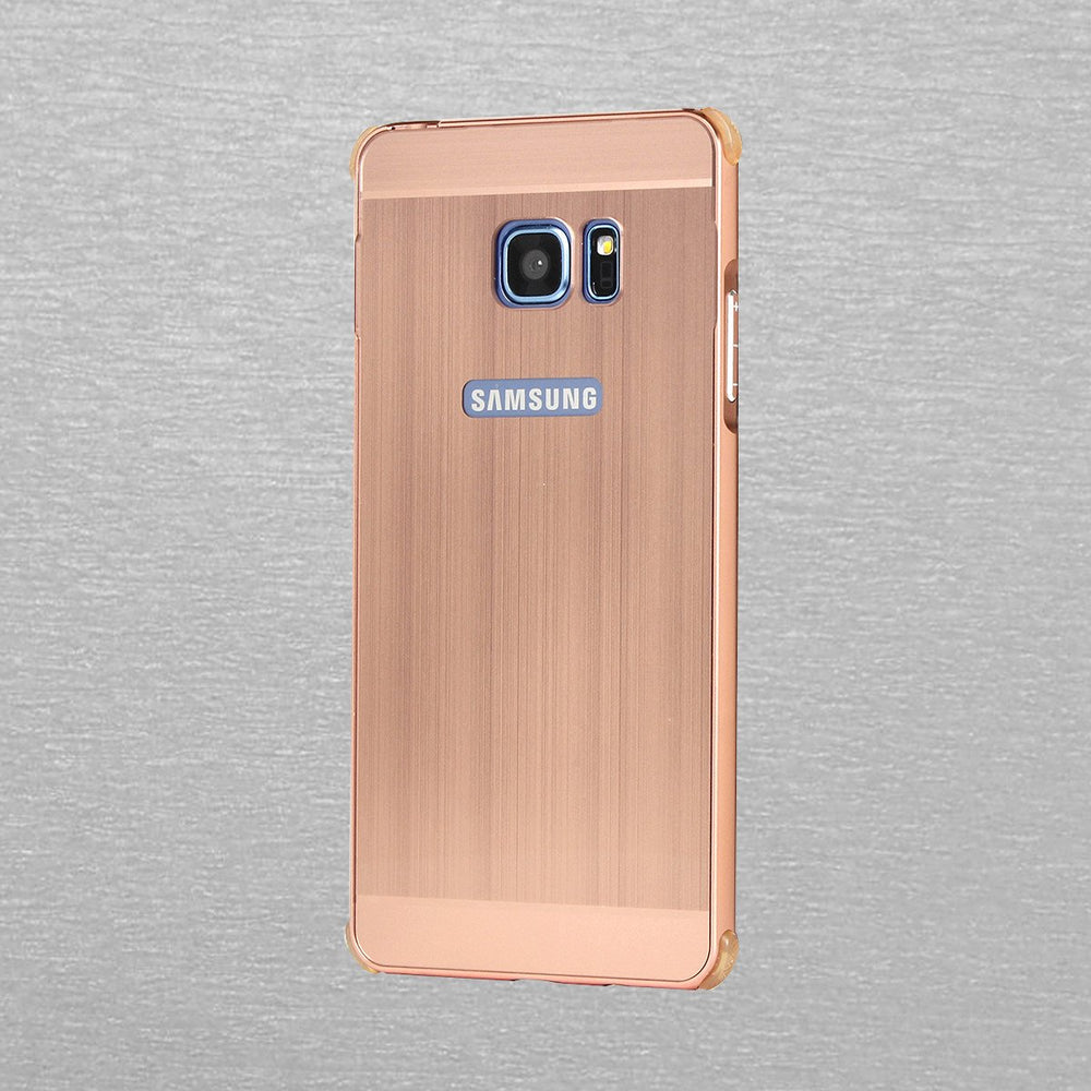 Plating Metal Frame Phone Case with Shockproof Bumpers Scratch-resistant Brushed Back Cover Hard Case Full Protective Phone Shell Cover for Samsung Note7
