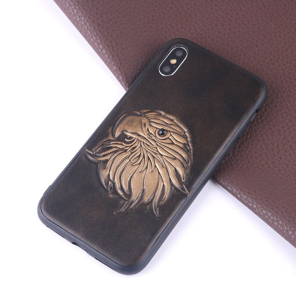 Noble Vintage Style Phone Case for iPhone with 3D Carved Eagle Pattern PU Leather Comfortable Grip Shockproof Anti-Scratch Phone Cover Case