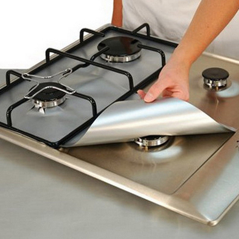 4pcs/set Reusable Non-stick Foil Gas Range Stovetop Burner Protector Liner Cover For Cleaning Kitchen Tools