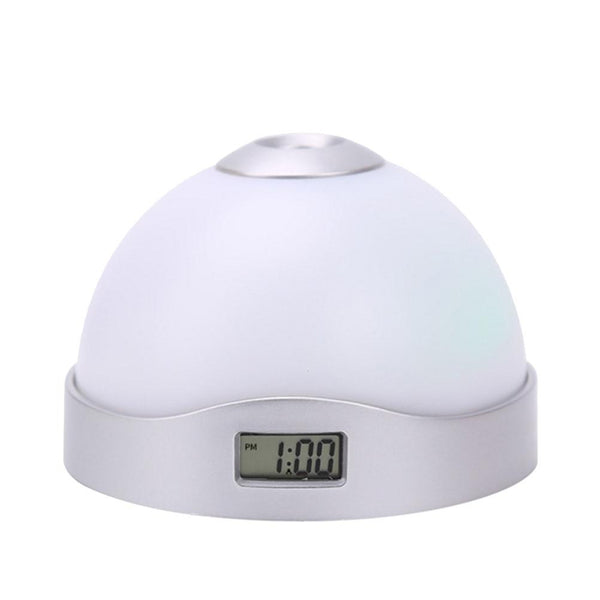 LED Projection Alarm Clock 7 Color Digital Portable Night Light for Bedrooms and Office Desk
