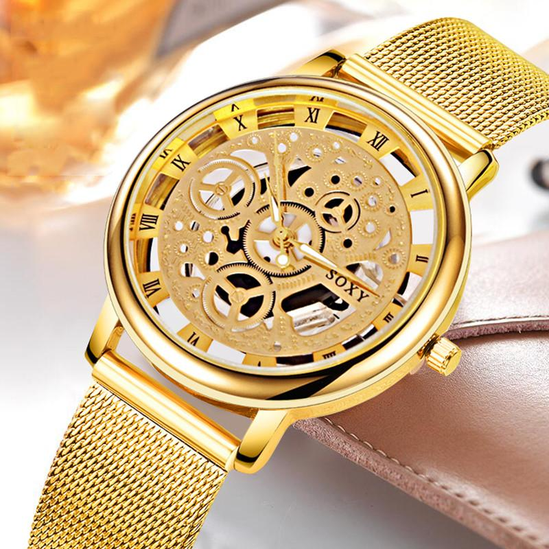 SOXY Luxury Skeleton Watches Men Watch Fashion Gold Watch Steel Mesh Watch