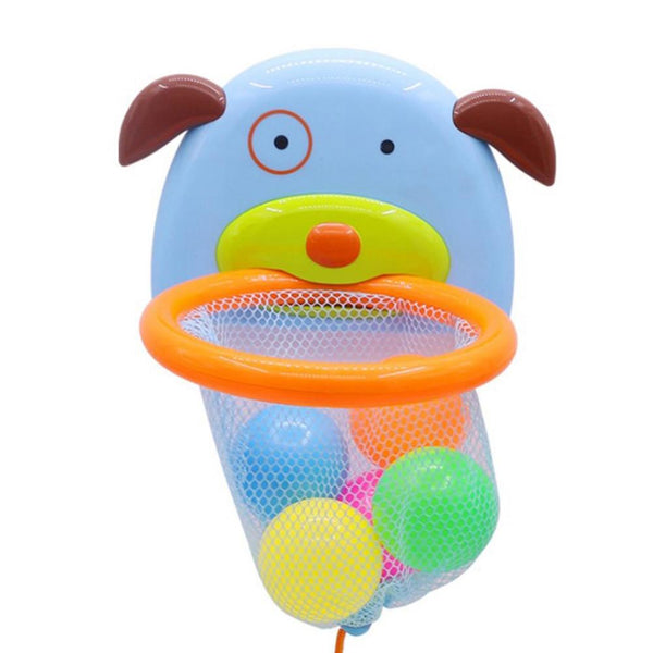 Bathtub Bath Toy Shoot and Splash Basketball Hoop and 5 Balls Sets Puppy Shaped Design for Kids