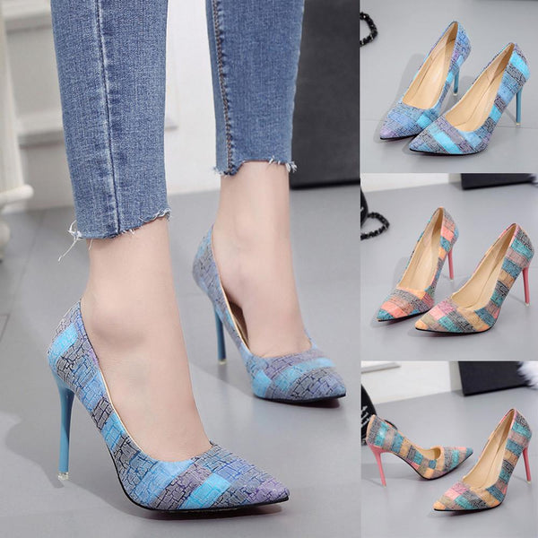 Women's Fashion Thin Heels Shoes Wild Mixed Colors Shallow High Heels Shoes