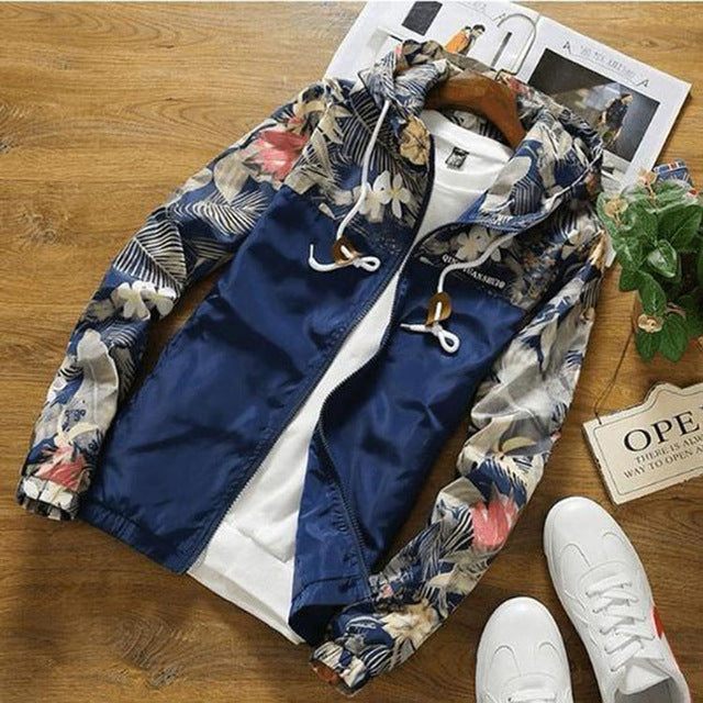 Drop Shipping Floral Bomber Jacket Men Hip Hop Slim Fit Flowers Pilot Jacket Coat Men's Hooded Jackets US Size Free Shipping