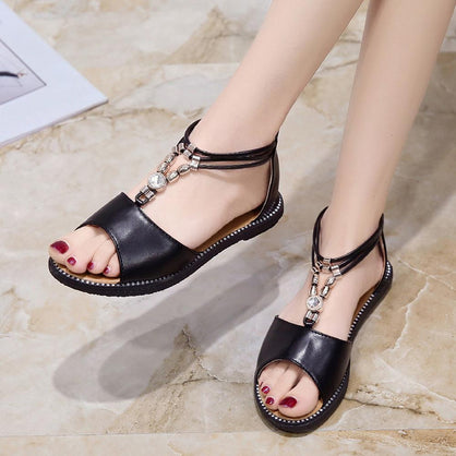 Women Rhinestone Breathable Flat Anti Skidding Open Toe Beach Shoes Rome Sandals