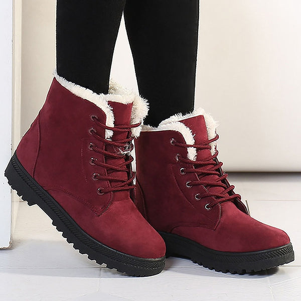 Fashion warm snow boots 2018 heels winter boots new arrival women ankle boots women shoes warm fur plush Insole shoes woman