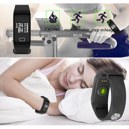 Wireless Bluetooth F1 Smart Bracelet With Heart Rate Tracker Pedometer