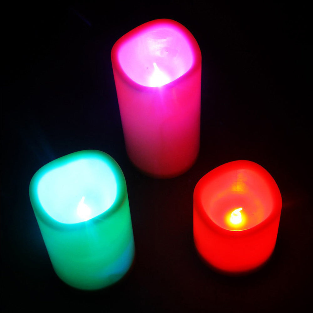 3 PCS Flameless Electric Candles Colorful LED Lights with Remote Control for Wedding Parties Holiday Home Decor