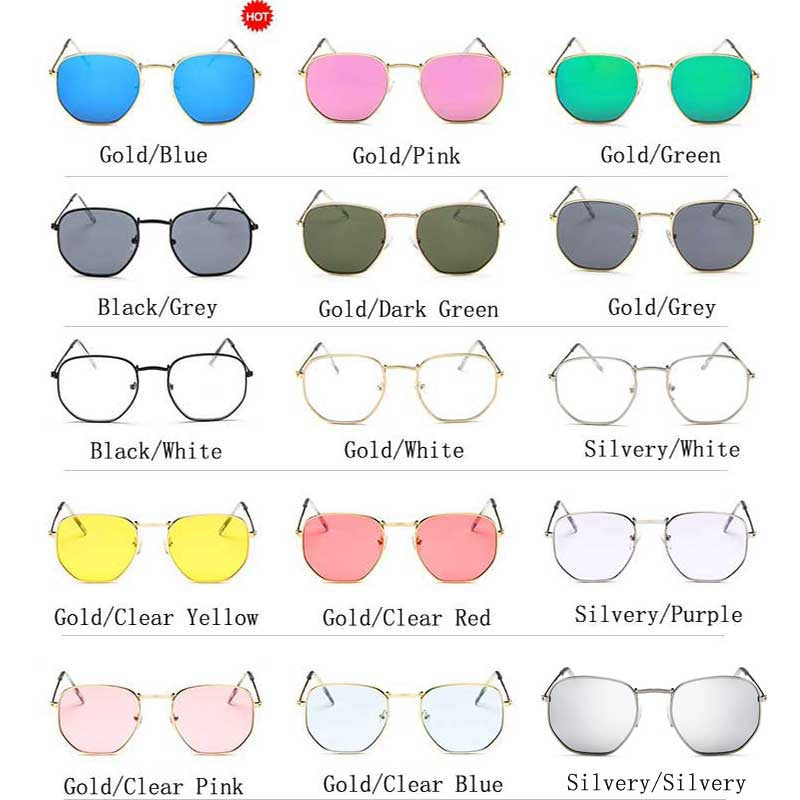 Vintage Sunglasses Women Brand Designer Men Square Polygon Glasses Retro Small Sun Glasses for Female Coating Shades Glasses