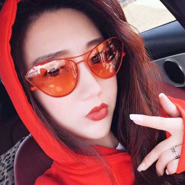 2018 Cat Eye Sun glasses for Women New Gradient Lens Metal Sun glasses Ladies Vintage Red Glasses Female Retro Alloy Eyewear
