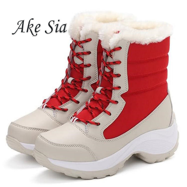 Big Size Winter Women Snow Boots Winter Women Keep warm Shoes Autumn Female Mid-Calf Platform Boots 2018 Woman Shoes F249