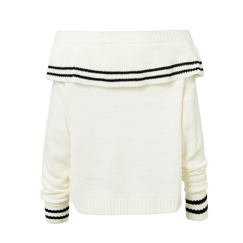 Conmoto Pullover Chic Patchwork White Sweater Slash Neck Full Sleeve Ruffles Sweet Sweater Elegant Party Casual Jumper