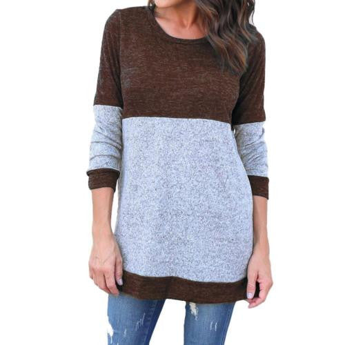 Women Fashion Autumn and Winter Sexy Patchwork O Neck Sweater Long Sleeve Knitwear Pullovers Casual Sweater Plus Size