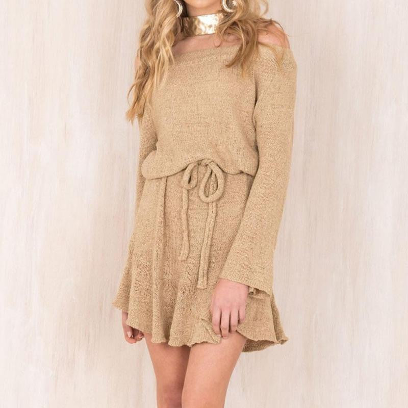 2018 Women Fashion Sweater Long Sleeve Sexy Slash Neck Knitwear Casual Loose Sweater Dress